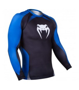 Venum No Gi Rash Guard IBJJF Approved - Long Sleeves - Black/Blue Size M